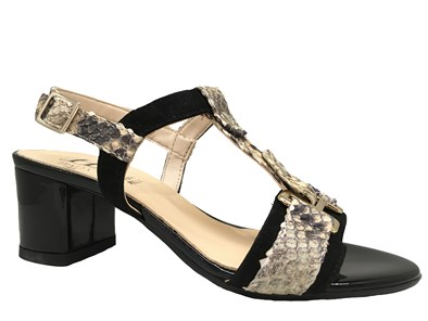 HB Black & Beige Moc-Croc Sandal