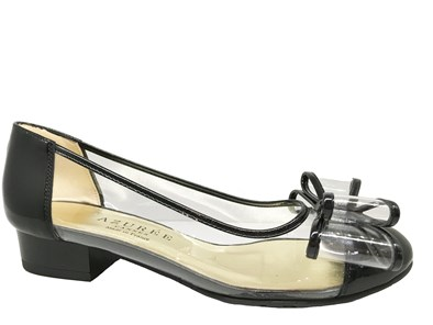 Azuree Bantu Black & Vinyl Bow Pump