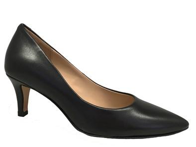 Perlato Black Leather Classic Court Shoe