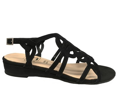 HB Black Suede Strappy Flat Sandal