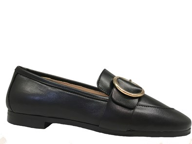 HB Black leather Loafer With Buckle Detail
