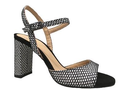 Perlato Black & White Check High Heel Sandal