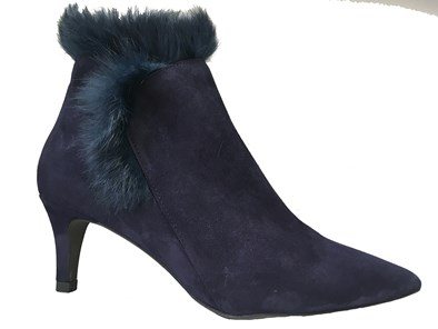 Perlato Navy Suede Faux Fur Lined Ankle Boot