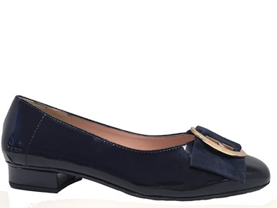 HB June Navy Patent Pump With Gold Trim Detail