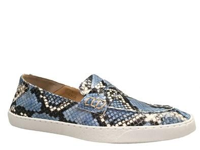 Perlato Blue Python Print Soft Loafer