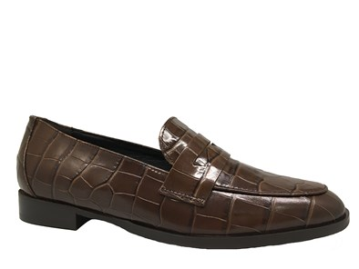 Lisa Kay 'Nanette' Brown Moc-Croc Loafer
