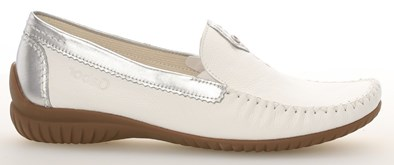 Gabor 'California' White & Silver Leather Moccasin
