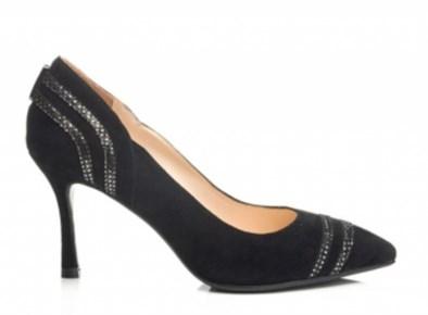 Capollini 'Elsie' Black Suede Court Shoe
