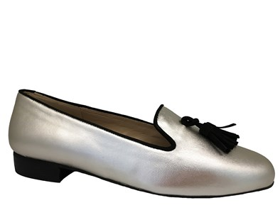 HB Clover Silver Loafer With Black Trim