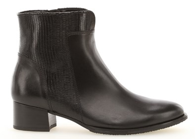 Gabor 'Delphino' Black Leather Ankle Boot
