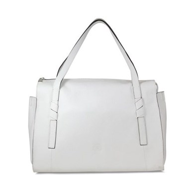 Lisa Kay Drive Large White Leather Tote Bag