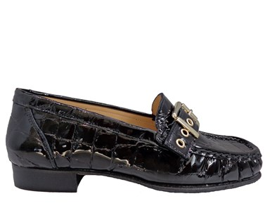 HB Mimi Black Patent Moc-Croc Moccasin With Large Buckle