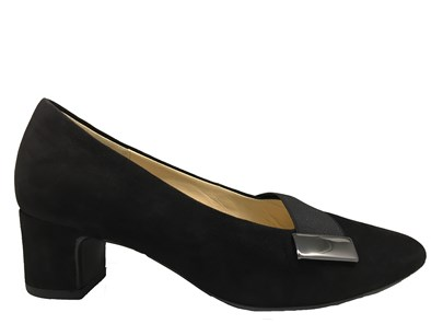 Gabor ' Ember' Black Suede Court Shoe