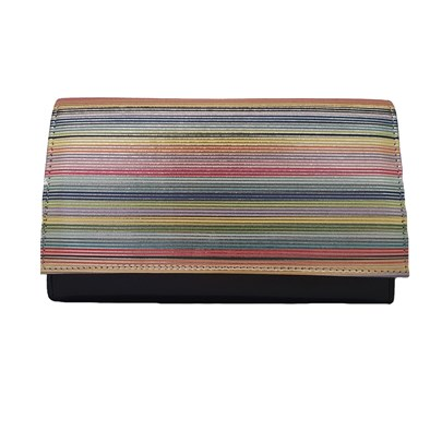 Hb Navy Stripe Clutch Bag With Strap