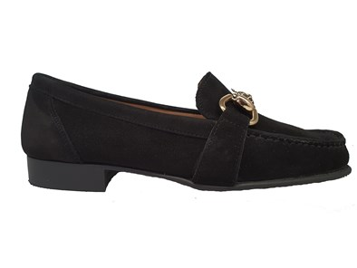 Hb Black Suede Moccasin With A Tiger Gold Metal Trim