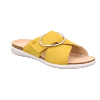Legero 'Float' Yellow Suede Slip On Sandal