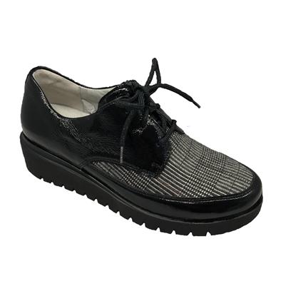 Waldlaufer Black Patent & Check Lace Up Shoe