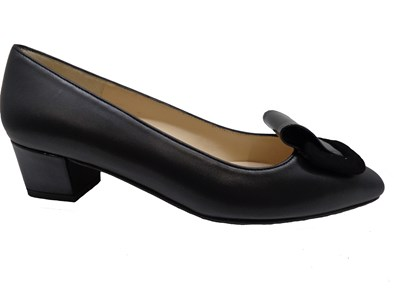 HB Black Leather Low Heel Court shoe