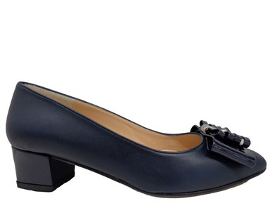 HB Navy Low Heel Court With Bow Trim