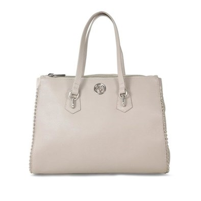 Lisa Kay Gamble Taupe Leather Tote Bag