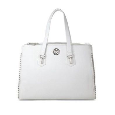 Lisa Kay Gamble White Leather Tote Bag
