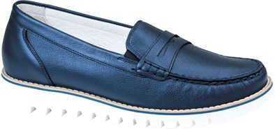 Waldlaufer 'Habea' Moccasin In Navy With A White Sole