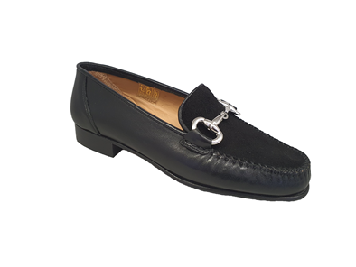 Hb Black Leather with a Suede Vamp Moccasin