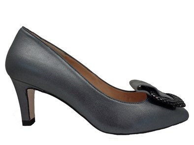 HB Justina Grey Luster Leather Mid Heel Court Shoe