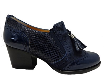 HB French Navy Mid Block Heel With Brogue Detail
