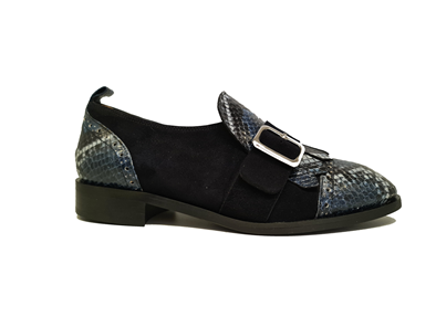 Hb Navy Leather Suede Moccasin With Fringe Detail