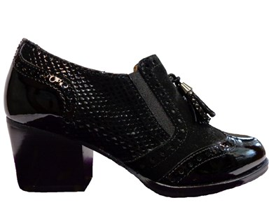 HB Black Mid Block Heel With Brogue Detailing