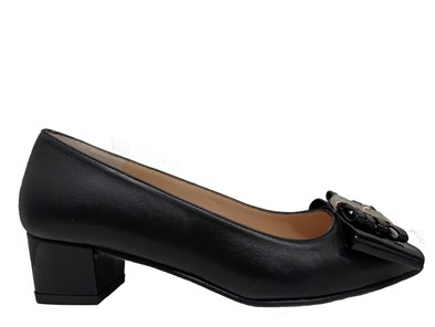 HB Francia Black Low Heel Court With Bow Trim