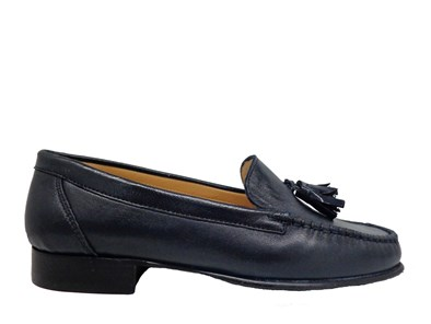 HB Classic Navy Leather Moccasin With Patent Tassels