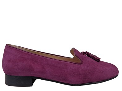 HB Clover Purple Suede Loafer With Tassels