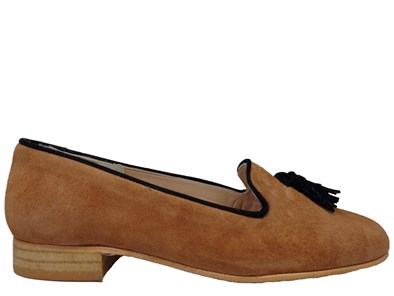 HB 'Clover' Tan & Black Suede Loafer With Tassels