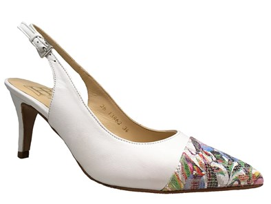 HB 'Huston' White & Floral Leather Slingback