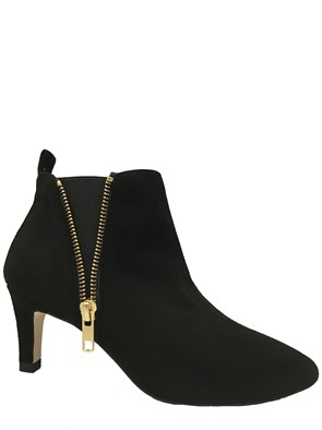 HB Janet Black Suede Ankle Boot With Kitten Heel