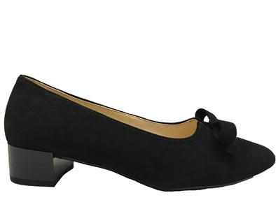 Gabor 'Kerry' Black Suede Low Heel Shoe
