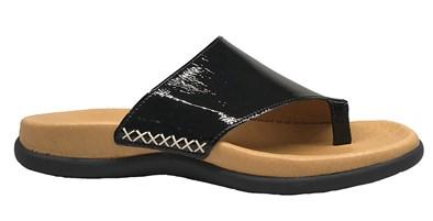 Gabor 'Lanzarote' Black Patent Toe-Post Sandal