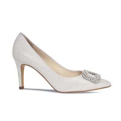Lisa Kay Cecilia Silver & White Evening Shoe