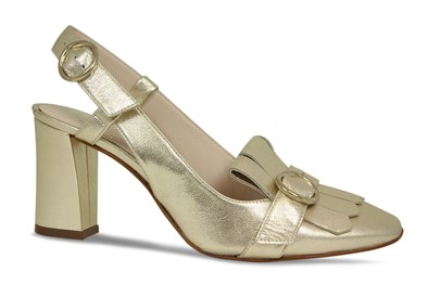 Lisa Kay Helene Gold Leather Sling Back