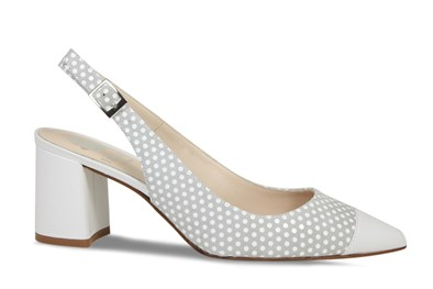 Lisa Kay Patsy Grey & White Leather Sling Back