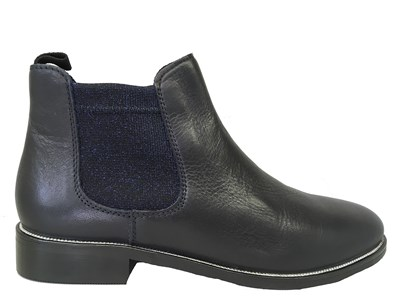 Lisa Kay Lori Navy Leather Chelsea Boot