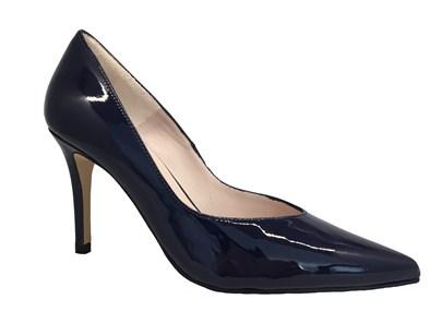 HB Navy Patent High Heel Court Shoe