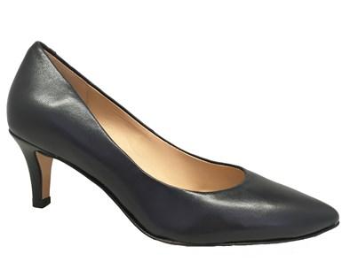 Perlato Navy Leather Classic Court Shoe