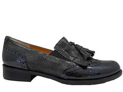 HB Grey Loafer With Patent Toe and Tassel Fringe
