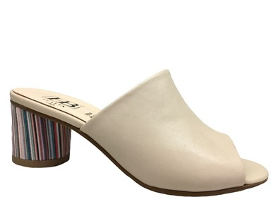 HB Nude Leather Mule With Striped Round Block Heel