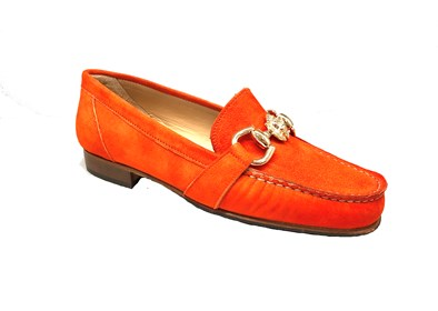 Luxurious Orange Suede Moccasin With a  Lion Detailed Trim