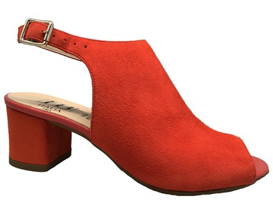 HB Orange Suede High Vamp Heeled Sandal