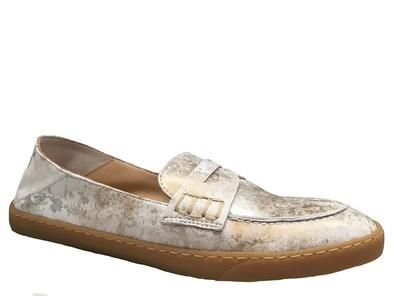 Perlato Silver & Gold Suede Soft Loafer